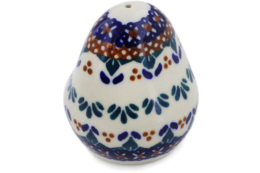 "Polish Pottery Salt Shaker 3"" Blue Cress Theme"