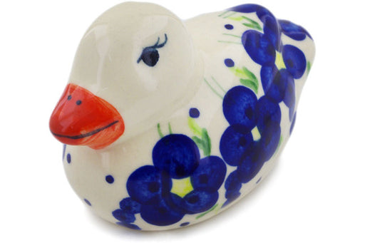 "Polish Pottery Duck Figurine 4"" Passion Poppy Theme"