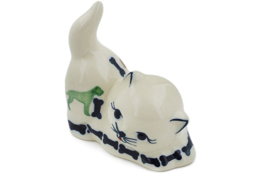 "Polish Pottery Cat Figurine 3"" Dogs And Bones Theme"