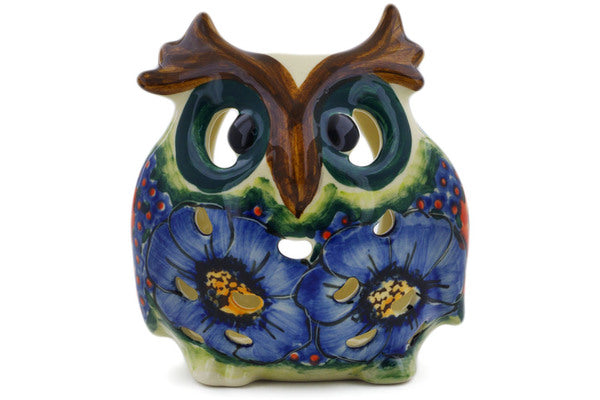 "Polish Pottery Owl Figurine 4"" Field Of Butterflies Theme UNIKAT"