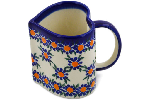 Polish Pottery Heart Mug Blue Daisy Theme UNIKAT