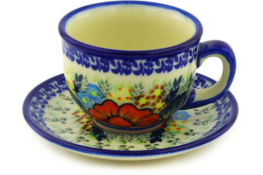 Polish Pottery cup w/saucer Bold Poppies Theme UNIKAT
