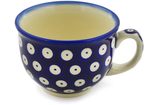 Polish Pottery Cup 10 oz Blue Eyed Peacock Theme