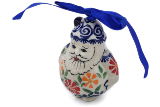 "Polish Pottery Santa Clause Ornament 4"" Wave Of Flowers Theme"
