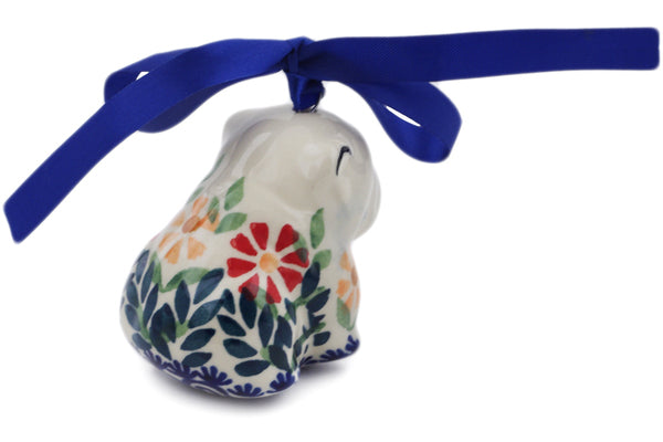 "Polish Pottery Dog Ornament 2"" Wave Of Flowers Theme"