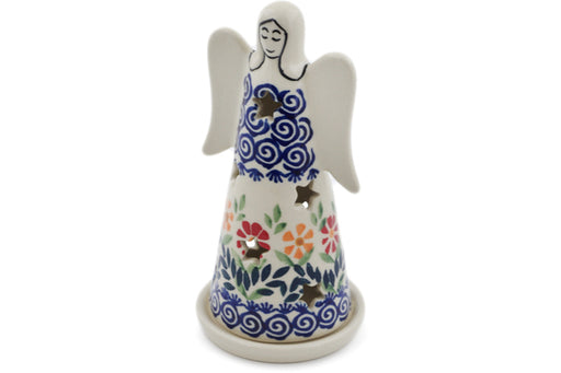 "Polish Pottery Candle Holder 6"" Wave Of Flowers Theme"