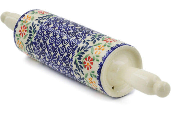"Polish Pottery Rolling Pin 15"" Wave Of Flowers Theme"