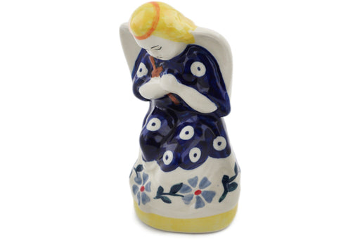 "Polish Pottery Angel Figurine 5"" Peacock Forget-me-not Theme"
