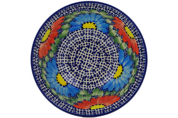 "Polish Pottery Bowl 7"" Spotted Garden Theme UNIKAT"