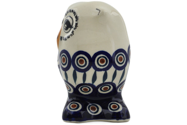 "Polish Pottery Owl Figurine 4"" Peacock Theme"