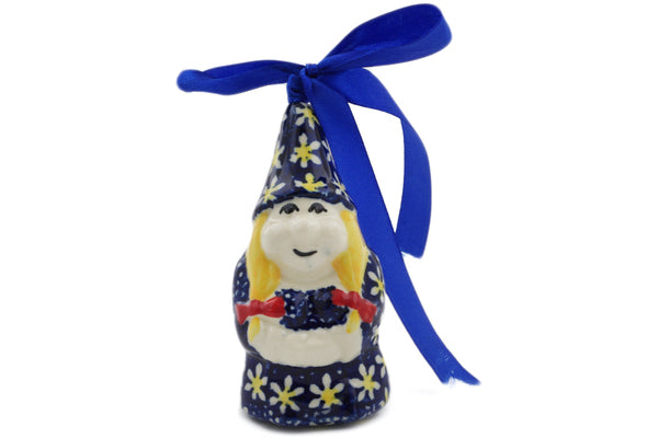 "Polish Pottery Gnome Ornament 4"" Daisy Theme"