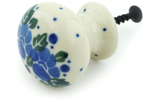 "Polish Pottery Drawer Pull Knob 1"" Blue Speckle Garland Theme"