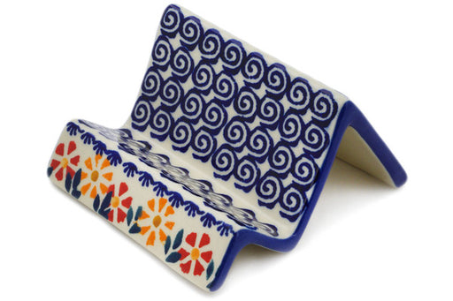 "Polish Pottery Business Card Holder 4"" Wave Of Flowers Theme"