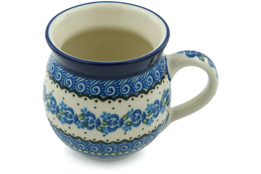 Polish Pottery Bubble Mug 12 oz Blue Bud Sea Theme