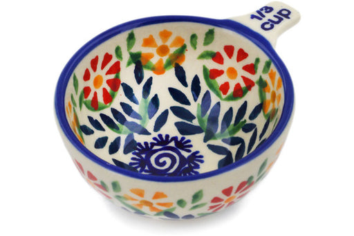Polish Pottery 1/3 Cup Measuring Cup Wave Of Flowers Theme
