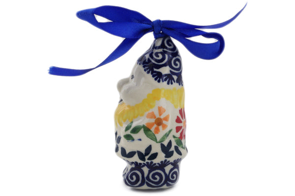 "Polish Pottery Gnome Ornament 4"" Wave Of Flowers Theme"