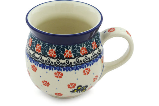Polish Pottery Bubble Mug 16 oz Spring Butterfly Theme