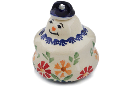 "Polish Pottery Ornament Snowman 3"" Wave Of Flowers Theme"