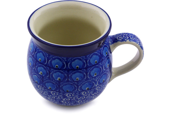 Polish Pottery Bubble Mug 8 oz Blue Peacock Theme
