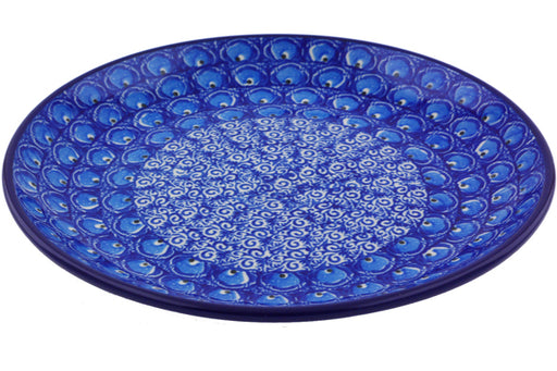 "Polish Pottery Plate 8"" Blue Peacock Theme"