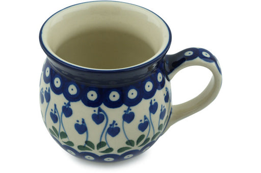 Polish Pottery Bubble Mug 16 oz Bleeding Heart Peacock Theme