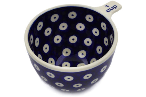 Polish Pottery 1 Cup Measuring Cup Peacock Eyes Theme