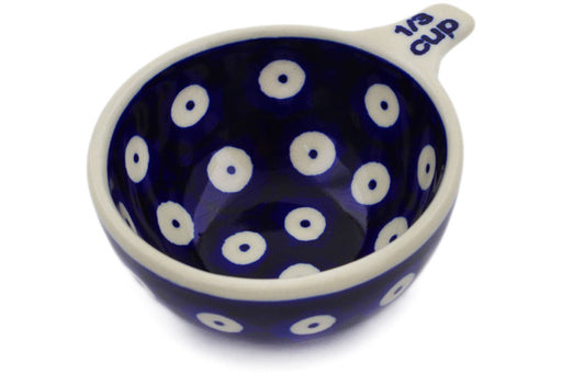 Polish Pottery 1/3 Cup Measuring Cup Peacock Eyes Theme