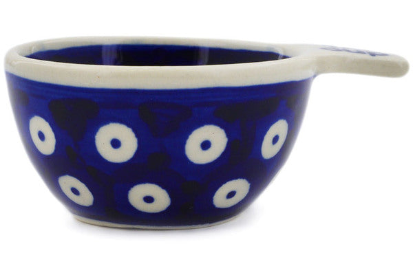 Polish Pottery 1/4 Cup Measuring Cup Peacock Eyes Theme