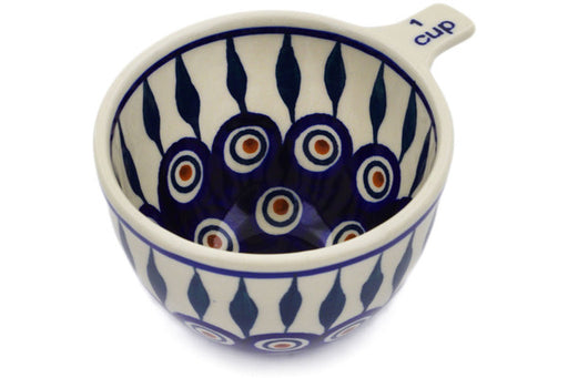 Polish Pottery 1 Cup Measuring Cup Peacock Theme
