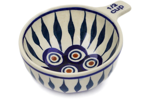 Polish Pottery 1/2 Cup Measuring Cup Peacock Theme