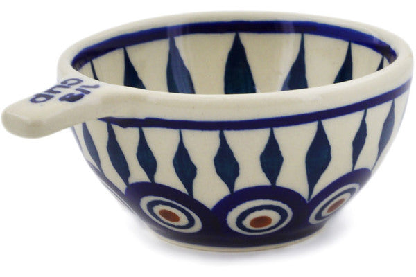 Polish Pottery 1/3 Cup Measuring Cup Peacock Theme