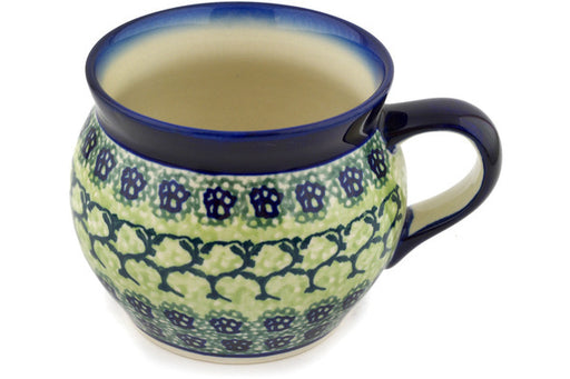 Polish Pottery Bubble Mug 16 oz Emerald Forest Theme
