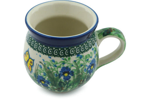 Polish Pottery Bubble Mug 12 oz Spring Garden Theme UNIKAT