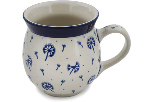 Polish Pottery Bubble Mug 16 oz Dandelions, Kites, Wind Theme