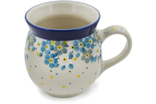 Polish Pottery Bubble Mug 16 oz Flowers Under The Starry Sky Theme