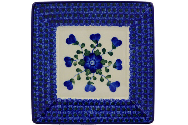 "Polish Pottery Square Plate 8"" Blue Poppies Theme"