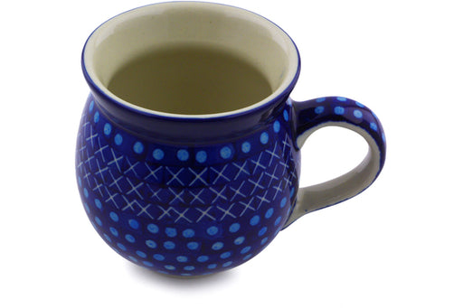 Polish Pottery Bubble Mug 12 oz Blue Dawn Theme UNIKAT