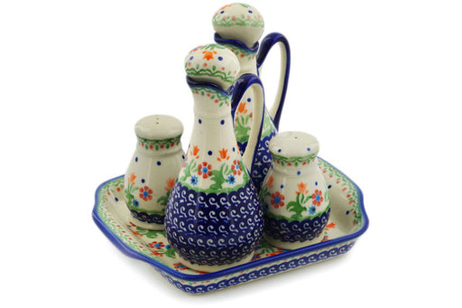 "Polish Pottery Seasoning Set 7"" Spring Flowers Theme"