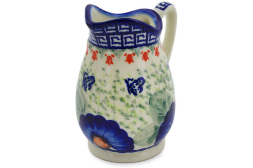 Polish Pottery Pitcher 12 oz Brilliant Butterfly Popp Theme UNIKAT