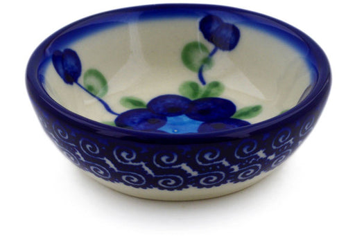 "Polish Pottery Bowl 3"" Blue Poppies Theme"