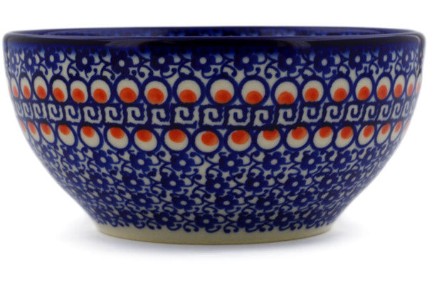 "Polish Pottery Bowl 6"" Floral Peacock Theme"