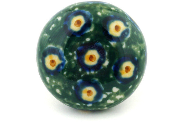 "Polish Pottery Drawer Pull Knob 1"" Emerald Peacock Theme"