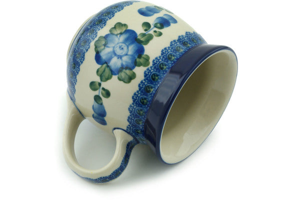 Polish Pottery Bubble Mug 16 oz Blue Poppies Theme