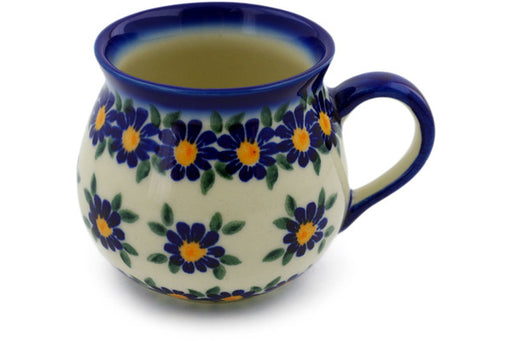 Polish Pottery Bubble Mug 9 oz Blue Daisy Theme UNIKAT