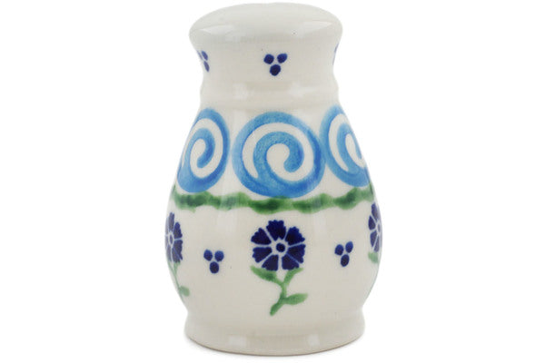 "Polish Pottery Salt Shaker 3"" Blue Bursts Theme"