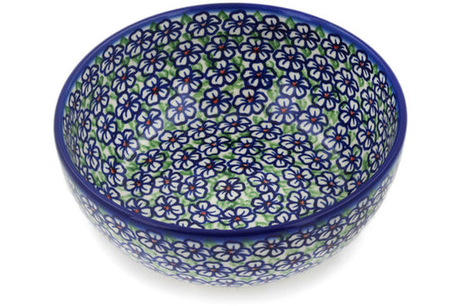 "Polish Pottery Bowl 7"" Flower Bouquet Theme"
