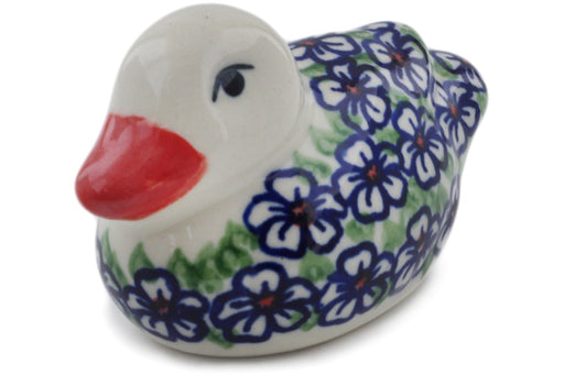 "Polish Pottery Duck Figurine 4"" Flower Bouquet Theme"
