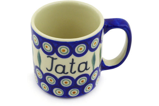 Polish Pottery Mug 12 oz Tata Dad Theme