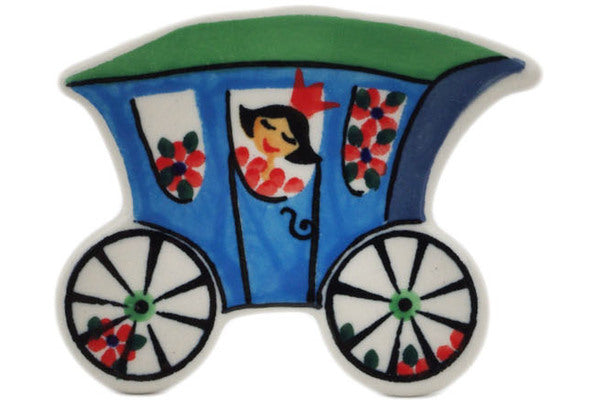 "Polish Pottery Magnet 3"" Blue Carriage Theme UNIKAT"