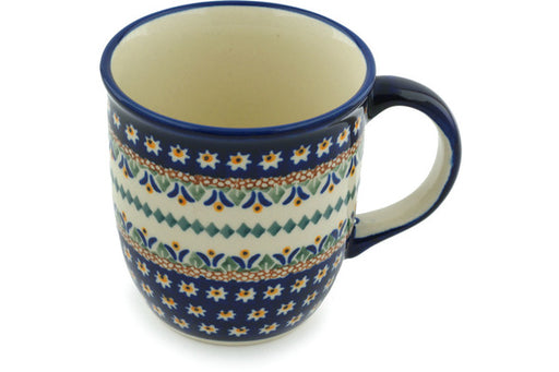 Polish Pottery Mug 12 oz Floral Peacock Theme UNIKAT